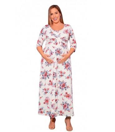 Vestido largo de lactancia Suzete estampado de Flores