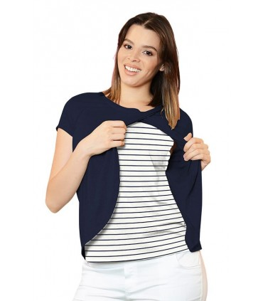 Polo de Lactancia Bella MC Navy Rayas Azules
