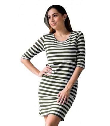 Vestido de lactancia Erika MC Rayas Verdes