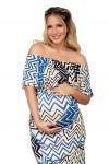 Vestido largo de Maternidad Terik Rayas Diagonales