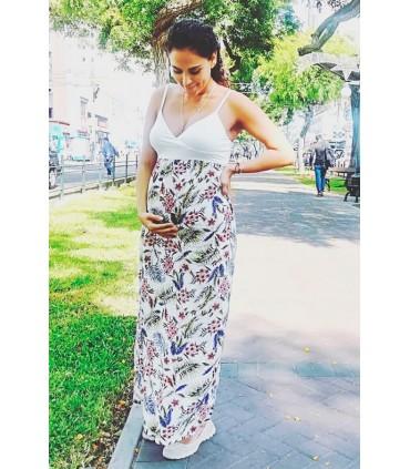 Vestido de Maternidad Talía Flores Ivory