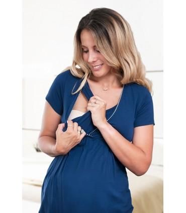 Pijama de maternidad y lactancia con Short Camila de Rayas Azules