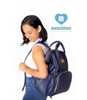 Mochila Pañalera Azul Monchitos