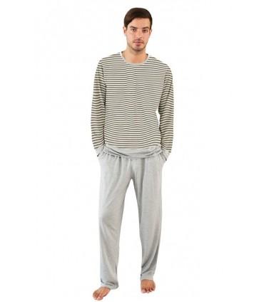 Pijama para Hombre Manga Larga con Pantalón Rayas Café