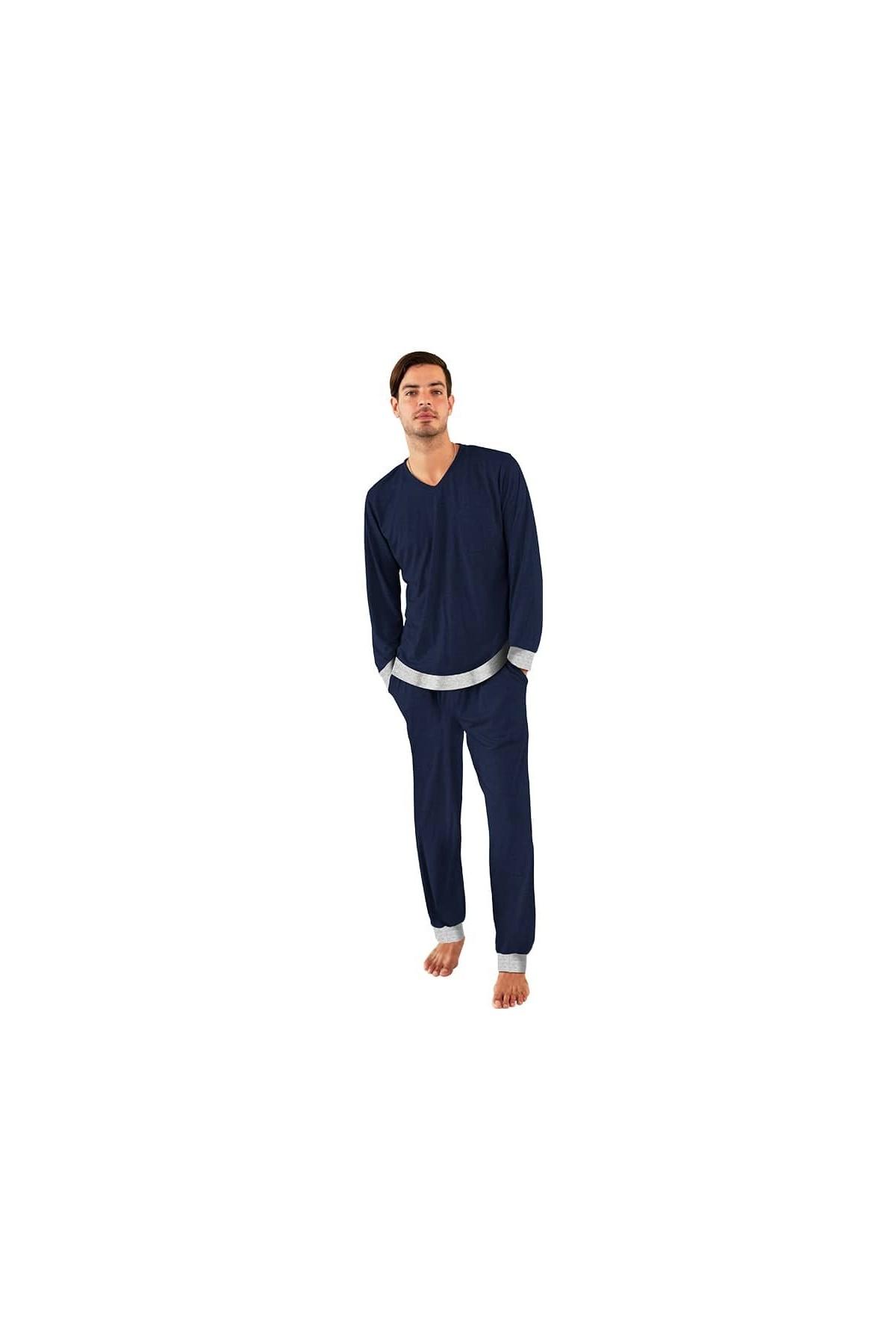 Pijama Para Hombre Manga Larga Con Pantalon Navy Gris Tallas L Large Colores Azul Marino