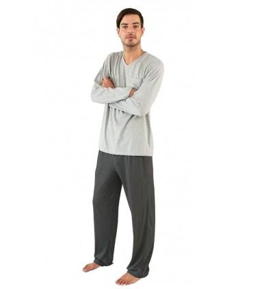 Pijama para Hombre Manga Larga con Pantalón Melange - Charcoal