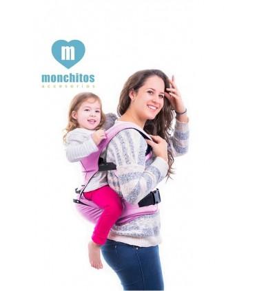 Canguro Ergonómico Baby Hip Carrirer Rosa Monchitos