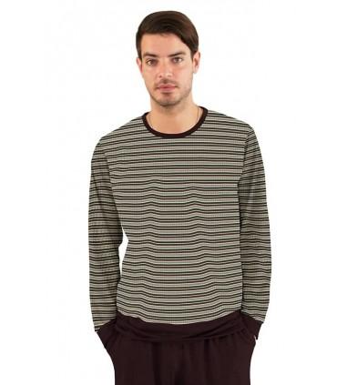 Pijama para Hombre Manga Larga con Pantalón Rayas Vino