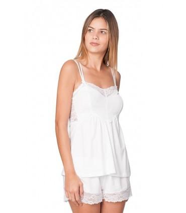 Conjunto Pijama con Short Amelie Blanco