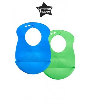 Baberos Easy Roll de Silicona Azul y Verde Tommee Tippee