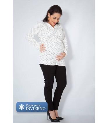 Blusa de Embarazo y Lactancia Jimena Puntos Negros