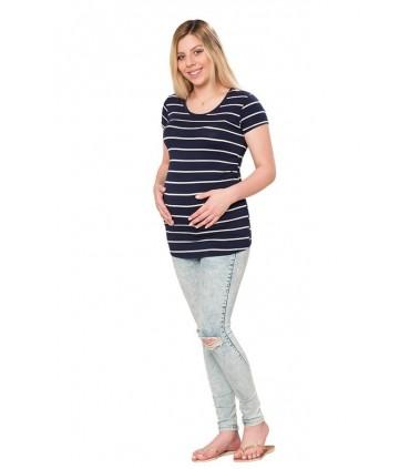 Polo de maternidad Cindy rayas azules