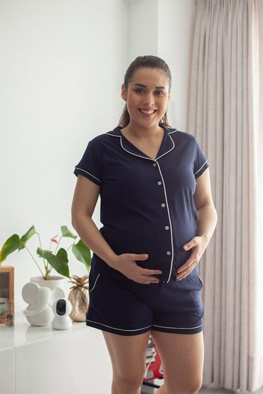 Pijama De Lactancia Con Short Paige Azul Marino