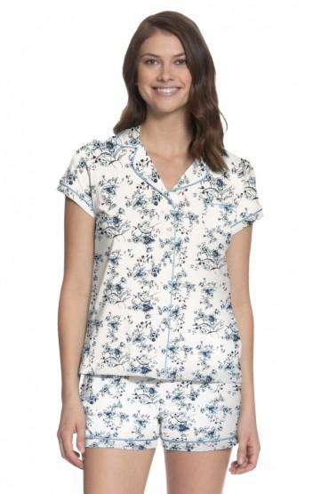 Pijama de Lactancia con short Paige Flores Aqua