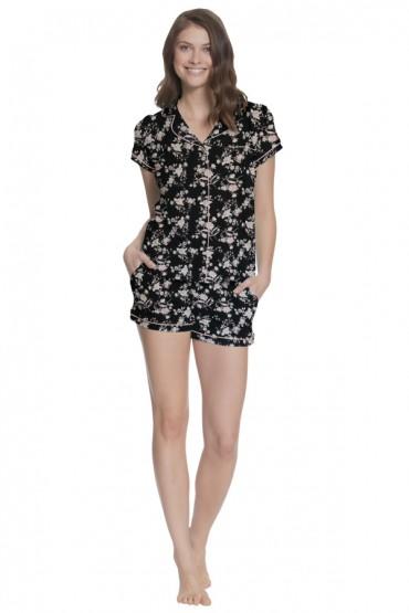 Pijama de Lactancia con short Paige negro de Flores rosa