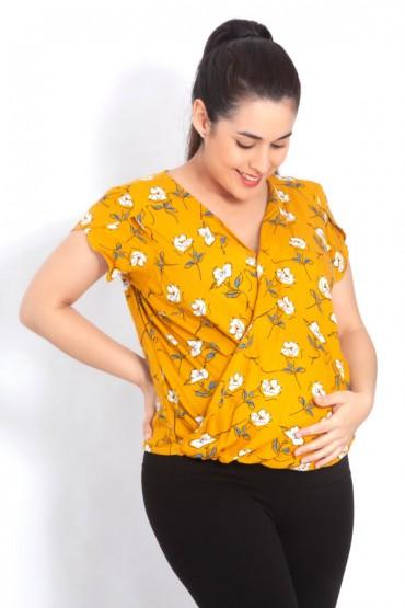 Blusa de maternidad y lactancia Bianca mostaza flores
