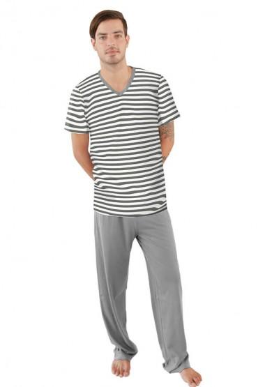 Pijama pantalón gris con polo manga corta a rayas gris