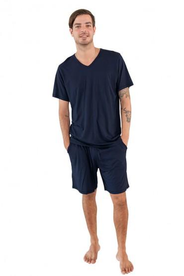 Pijama para hombre manga corta con short azul marino