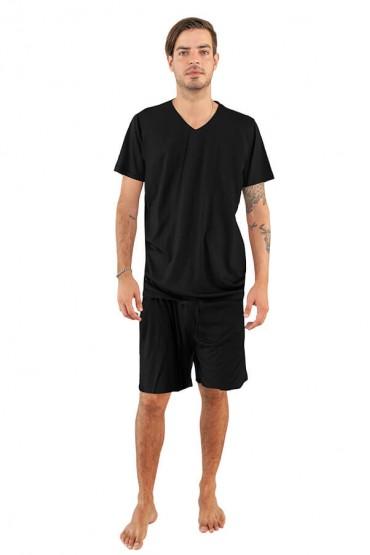 Pijama hombre manga corta negro con short negro