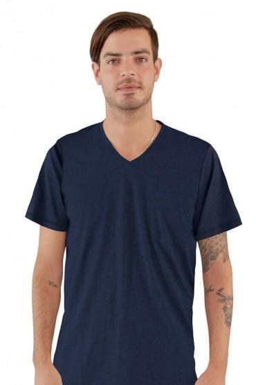 Pijama polo manga corta azul con pantalón azul marino