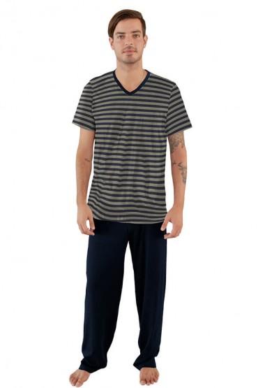 Pijama manga corta rayas azul y gris con pantalón azul