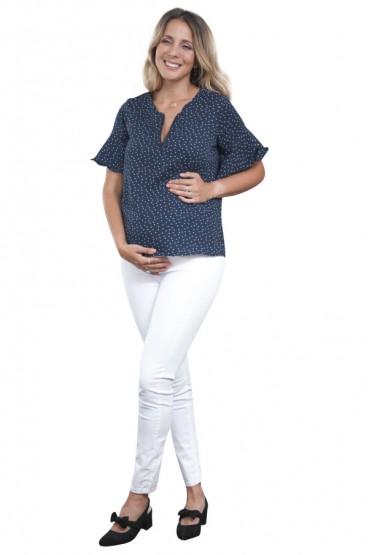 Blusa de Maternidad Vilma azul lunares blanco