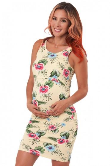 Vestido de maternidad y lactancia carmen amarillo con flores