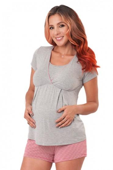 Pijama de maternidad y lactancia con Short Camila de Rayas Rojas