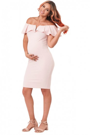 Vestido Ariana maternidad off Shoulder color rosa