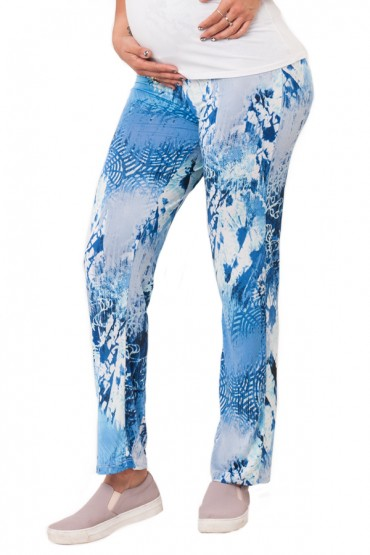 Pantalón yoga relax con faja adaptable acuarelado azul