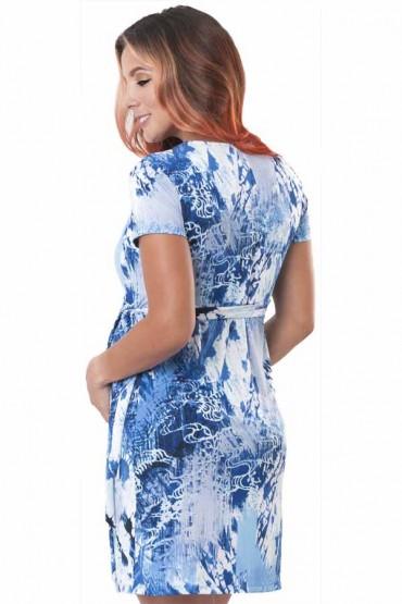 Vestido de maternidad y  Lactancia Divine pinceladas azul