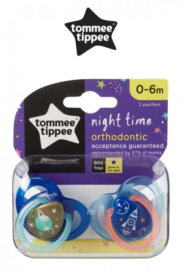 """Chupones """"Night Time"""" Tommee Tippee azul de 0 - 6 meses"""
