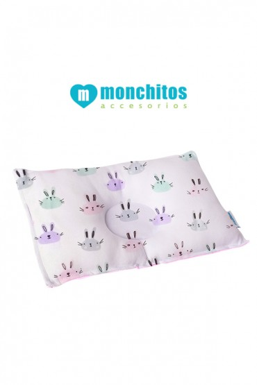 Almohada Anti-Cabeza Plana Xtraconfort rosa Monchitos