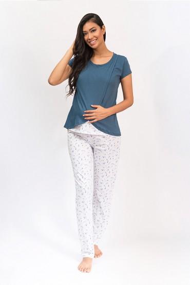 Pijama de lactancia manga corta Bella Espigas Azul