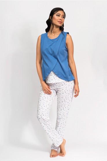 Pijama de lactancia Bella Espigas Azul
