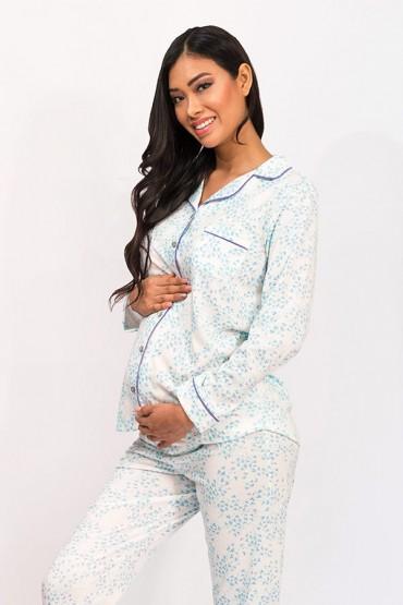 Pijama de lactancia Paige Tréboles Aqua