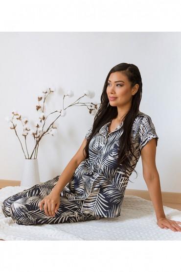 Pijama de Lactancia Paige Satín Azul