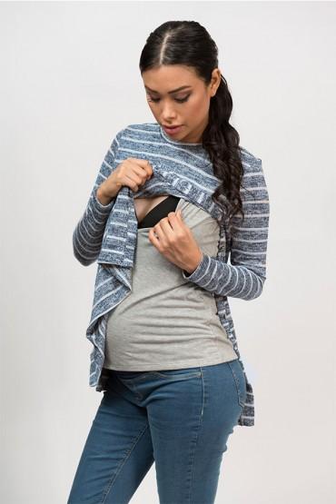 Polo de Maternidad y Lactancia Linda Azul Rayas
