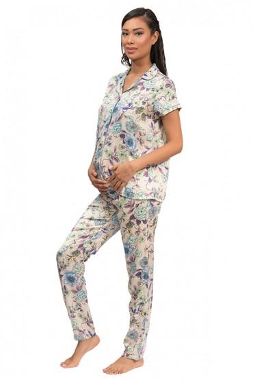 Pijama de Lactancia Paige Satín Morado