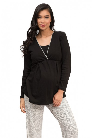 Pijama de lactancia Camila Print Puntos Negros