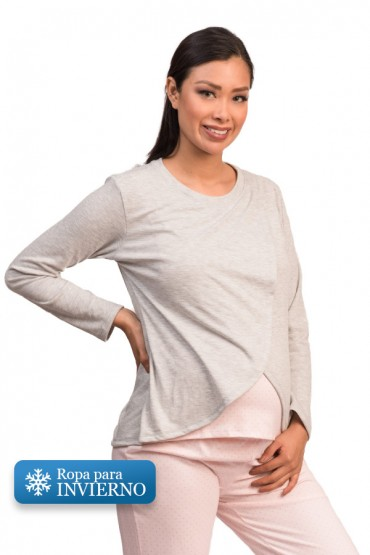 Pijama lactancia pantalon Bella Puntos Rosa