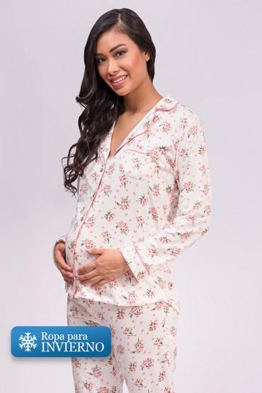 Pijama de lactancia Paige Ivory Flores