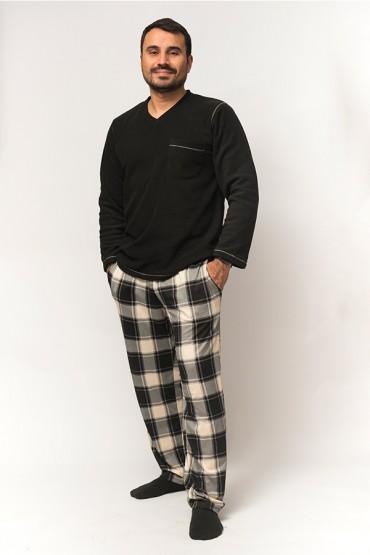 Pijama Hombre Polar Cuadros Negros