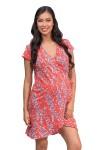 Vestido de Maternidad y Lactancia CLIO Rojo Flores