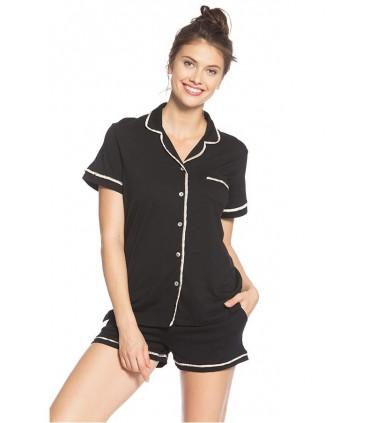 Pijama de lactancia con short Sophie Basic negro